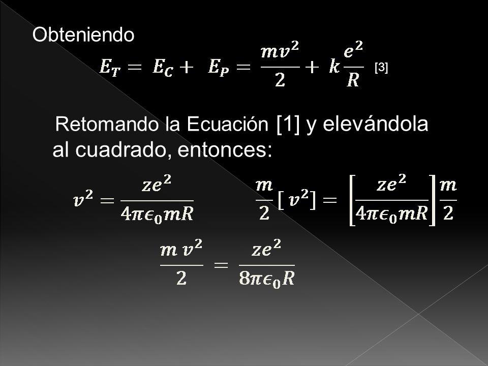 Retomando la Ecuación [1] y elevándola al cuadrado, entonces: